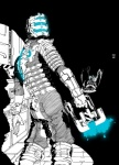 armor dead_space gun hi_res human isaac_clarke male mammal monster necromorph plasma_cutter ranged_weapon solo unknown_artist video_games weapon