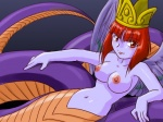 4:3 5_fingers animal_humanoid baalsama breasts crown feathered_snake feathered_wings feathers female fingers hair humanoid lamia looking_aside looking_at_viewer navel nipples nude orange_body orange_scales purple_body purple_feathers purple_scales purple_skin red_eyes red_hair reptile reptile_humanoid scales scalie scalie_humanoid serpentine short_hair snake snake_humanoid solo supon wings