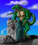 1998 3_toes anthro building building_sex cum cumshot dinosaur humanoid_penis inanimate_penetration macro male muscles orgasm penis penis_head scalie sharp_teeth solo standing sudonym teeth toes what  Rating: Explicit Score: 5 User: Knotta Date: November 25, 2008""
