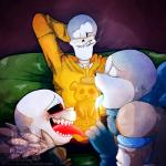animated_skeleton blush bone cigarette clothed clothing group honey lizherubones looking_at_viewer male male/male papyrus_(undertale) red_eyes sans_(undertale) skeleton smile suggestive tongue undead underfell underswap undertale video_games  Rating: Questionable Score: 2 User: Fontcest Date: May 03, 2016