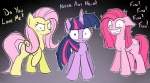 ? blue_eyes cutie_mark english_text equine female feral firebrandkun fluttershy_(mlp) friendship_is_magic fur group hair horn horse insane looking_at_viewer mammal multicolored_hair my_little_pony pegasus pink_fur pink_hair pinkie_pie_(mlp) plain_background pony purple_eyes purple_fur purple_hair text twilight_sparkle_(mlp) unicorn wings yellow_fur   Rating: Safe  Score: 13  User: anthroking  Date: April 25, 2013