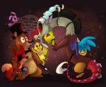 2014 animatronic anthro antlers avian beak bear bird blue_eyes bonnie_(fnaf) bow bow_tie brown_fur canine chica_(fnaf) chicken cute dialogue discord_(mlp) draconequus dragon english_text eye_patch eyewear feathers female five_nights_at_freddy's fox foxy_(fnaf) freddy_(fnaf) friendship_is_magic fur group hat hook hook_hand horn lagomorph machine male mammal mechanical my_little_pony open_mouth purple_fur rabbit red_eyes red_fur robot smile text thedoggygal wand wings yellow_body   Rating: Safe  Score: 36  User: Vallizo  Date: December 09, 2014