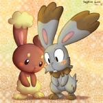 2015 abstract_background ambiguous_gender big_ears blush buckteeth buneary bunnelby cub duo ear_tuft feral floppy_ears lagomorph looking_down mammal nintendo pokémon sapphire_luna semi-anthro shy simple_background standing teeth tuft video_games young