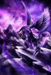 2015 ambiguous_gender detailed_background digital_media_(artwork) feathered_wings feathers ink-leviathan legendary_pokémon nintendo palkia pokémon pokémon_(species) purple_theme solo video_games wings