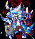 abstract_background ambiguous_gender black_background golisopod guzma_(pokemon) masquerain nintendo pinsir pokémon pokémon_(species) red_background scizor simple_background video_games vikavolt みへい