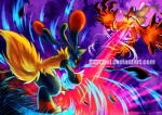 ambiguous_gender anthro digital_media_(artwork) duo energy_ball feral fight fluffy_tail flying grass haychel laser lucario mega_evolution mega_lucario nintendo pokémon video_games yveltal   Rating: Safe  Score: 11  User: slyroon  Date: August 30, 2013