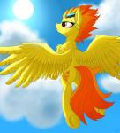 absurd_res cutie_mark equine eyelashes eyewear feathered_wings feathers female feral friendship_is_magic fur glasses goggles hair hi_res hooves mammal my_little_pony orange_eyes orange_hair orangejuicerus pegasus smile solo spitfire_(mlp) spread_wings underhoof wings wonderbolts_(mlp) yellow_feathers yellow_fur