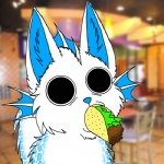 ambiguous_gender big_eyes black_eyes blank_stare blue_fur blue_nose chair crystal_ryuu crystalryuu feral fin food fur gills insane lettuce low_res mall nightmare_fuel o_o photo_background reaction_image solo soul_devouring_eyes table taco taco_bell unknown_species what white_fur