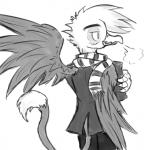 anthro avian book breath clothing fan_character feathers gryphon half-closed_eyes jackle_app male monochrome my_little_pony plain_background scarf smile solo talons white_background wings   Rating: Safe  Score: 2  User: EmoCat  Date: March 19, 2015