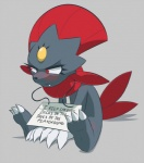ambiguous_gender blush claws english_text fangs nintendo pokémon pokéshaming punishment red_eyes sign sitting solo teckworks text toe_claws video_games weavile
