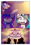 ! ... 2016 <3 <3_eyes ? cake comic dialogue english_text equine female feral food friendship_is_magic fruit group hair happy hi_res horn hungry long_hair lyra-senpai mammal multicolored_hair my_little_pony open_mouth princess_celestia_(mlp) princess_luna_(mlp) purple_eyes strawberry teeth text twilight_sparkle_(mlp) unicorn  Rating: Safe Score: 12 User: Egekilde Date: March 26, 2016