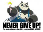 bear big_breasts black_fur blue_eyes breasts claws clothed clothing english_text female fur gillpanda gillpanda_(character) looking_at_viewer mammal motivational_poster multicolored_fur overweight panda pawpads pen sharp_teeth simple_background smile teeth text thumbs_up two_tone_fur white_background white_fur  Rating: Safe Score: 17 User: HotUnderTheCollar Date: January 22, 2016