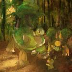 ambiguous_gender camilledionbolduc grotle group nintendo pichu pokémon pokémon_(species) size_difference spiky-eared_pichu torterra turtwig video_games