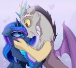 2016 blue_eyes blue_fur blue_hair blush discord_(mlp) draconequus duo equine eye_contact feathered_wings feathers female feral friendship_is_magic fur hair hi_res horn hug lyra-senpai male mammal my_little_pony princess_luna_(mlp) smile winged_unicorn wings  Rating: Safe Score: 12 User: Somepony Date: February 26, 2016