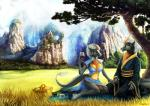 2016 alcohol anthro beverage black_scales chinese_clothing clothed clothing digital_media_(artwork) dragon duo ear_piercing female food fur gold_fur grassland green_eyes hair hooves horn hybrid kirin landscape long_ears male mane mist mountain nashira nianzu picnic piercing scales scalie shalinka smile tree  Rating: Safe Score: 20 User: Malakim Date: February 11, 2016