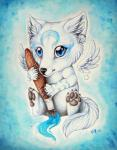 2009 abstract_background ambiguous_gender anthro blue_eyes brush canine chibi claws cute feathers fur mammal painting pawpads sitting wings wolf wolf-minori   Rating: Safe  Score: 1  User: Lizardite  Date: March 13, 2014