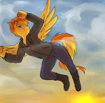 anthro clothed clothing equine feathered_wings feathers female flying friendship_is_magic glacierclear hi_res mammal my_little_pony pegasus smile solo spitfire_(mlp) wings wonderbolts_(mlp) yellow_feathers  Rating: Safe Score: 10 User: JGG3 Date: April 02, 2016