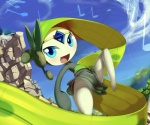 2012 ambiguous_gender blue_eyes cloud green_hair hair happy humanoid legendary_pokémon long_hair looking_at_viewer meloetta meloetta_(aria_form) music musical_note nintendo not_furry outside pokémon pokémon_(species) sky solo sound spread_legs spreading theboogie video_games