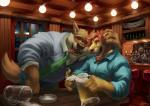 2015 alcohol alpha0 anthro bar bartender beer beverage blush brown_fur canine claws clothed clothing drunk eyes_closed feline food fur glass hair holding_head inside lights lion male mammal necktie orange_hair shirt sitting smile sweater tongue tongue_out window wolf yellow_eyes  Rating: Safe Score: 12 User: Vinea Date: February 06, 2016