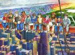 2016 ango76 anthro barefoot canine cigarette city cityscape clothed clothing colored_pencil_(artwork) colorful feline fur group high_place inspired_by_proper_art male mammal mixed_media overalls pen_(artwork) sitting smoking traditional_media_(artwork) watercolor_(artwork)