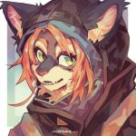1:1 2018 anthro cloak clothing digital_media_(artwork) felid fur girly green_eyes hair hi_res kemono laika_(vydras) looking_at_viewer male mammal moonagvaze simple_background