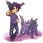 ambiguous_gender clothed clothing cosplay duo fangs feral fully_clothed hair hitec human looking_at_viewer male mammal nidorino nintendo nude pants pokémon pokémon_(species) purple_hair shirt short_hair video_games
