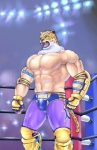 abs armor biceps big_muscles brown_fur bulge clothed clothing fangs feline fighting_ring for_a_head fur gloves green_eyes half-dressed human hybrid jaguar king_(tekken) male mammal markings mask muscles nipples open_mouth pants pecs pose shorts solo spots standing tan_fur teeth tekken toned tongue topless vein white_fur wrestler ポチコロ  Rating: Safe Score: 5 User: Munkelzahn Date: March 07, 2014