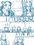 2016 anthro armor basitin cloak clothing comic feline female flora_(twokinds) fur group hair human keidran keiren_(twokinds) keith_keiser male mammal outside ponytail saber-toothed_cat sealeen_(twokinds) simple_background sketch tiger tom_fischbach trace_legacy twokinds webcomic white_background  Rating: Safe Score: 1 User: Shingen Date: March 18, 2016