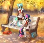 2017 anthro anthrofied bag bench blue_eyes bonbon_(mlp) clothed clothing crying dessert duo earth_pony equine female food footwear friendship_is_magic fully_clothed hair hi_res horn horse ice_cream leaves legwear long_hair lyra_heartstrings_(mlp) mammal multicolored_hair multicolored_tail my_little_pony pony russian sad school_uniform shoes sitting socks soviet_union tears tomatocoup tree two_tone_hair unicorn uniform yellow_eyes