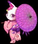 absurd_res alpha_channel anthro cat clothing cute digimon feline female flower gatomon hairpin hi_res japanese_clothing kimono long_sleeves looking_at_viewer looking_back mammal pawpads plant purple_eyes simple_background solo tory transparent_background umbrella white_background
