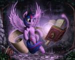 2014 book cutie_mark equine female feral forest friendship_is_magic fur hair hi_res horn magic mammal multicolored_hair my_little_pony outside purple_eyes purple_fur purple_hair rune saddle_bag scroll solo sword tree twilight_sparkle_(mlp) weapon winged_unicorn wings yakovlev-vad   Rating: Safe  Score: 26  User: Somepony  Date: February 14, 2014