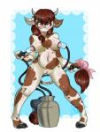 anthro big_breasts blue_eyes bovine breasts brown_hair candylady female hair horn lactating machine mammal milk milking_machine nipples nude pussy slightly_chubby solo tongue tongue_out  Rating: Explicit Score: 13 User: Pasiphaë Date: January 10, 2016