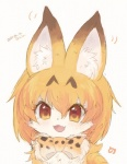 2017 anthro blush bow_tie brown_fur cute cute_fangs feline female feral feralized fur hair kemono kemono_friends looking_at_viewer mammal open_mouth orange_hair serval serval_(kemono_friends) signature siho_(pixiv) simple_background smile solo white_fur yellow_eyes yellow_fur