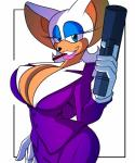 anthro bat big_breasts breasts cleavage clothed clothing female gun holding_weapon huge_breasts looking_at_viewer mammal ranged_weapon rouge_the_bat sega smile solo sonic_(series) supersonicrulaa weapon   Rating: Questionable  Score: 3  User: Robinebra  Date: January 11, 2015