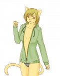 amber_eyes blonde_hair breasts cat cleavage clothed clothing diva feline female hair hoodie mammal panties plain_background shirt short_hair solo standing underwear white_background   Rating: Safe  Score: 8  User: queue  Date: November 02, 2011