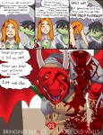 anthro armor black_hair blonde_hair blood comic crying decapitation dialogue dragon dranz english_text female gore group hair horn human male mammal reiger scalie tears text weapon wings  Rating: Explicit Score: 9 User: skykid Date: June 25, 2011