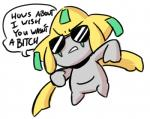 ambiguous_gender anaugi dialogue english_text eyewear frown humanoid humor jirachi legendary_pokémon nintendo pokémon reaction_image simple_background solo speech_bubble sunglasses text video_games white_background