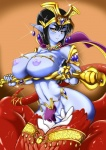 """big_breasts black_hair blue_skin blush breasts clothed clothing female hair half-dressed looking_at_viewer naga nipples plain_background pose scalie sirat111 skimpy smile solo yellow_eyes  Rating: Questionable Score: 12 User: Pasiphaë Date: June 27, 2015"""""""