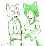 <3 anthro canine couple duo female fox fox_mccloud green_and_white happy krystal lilith_(artist) male mammal monochrome nintendo plain_background pregnant smile star_fox video_games  Rating: Safe Score: 4 User: Cαnε751 Date: June 14, 2015""