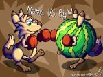 2017 boxing boxing_gloves digital_media_(artwork) ferret flurret flygon_(artist) food fruit mammal melon mustelid pixel_(artwork) procyonid raccoon redfoxxie sport watermelon
