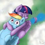 2014 absurd_res blue_fur captainpudgemuffin cloud cute digital_media_(artwork) duo equine eyes_closed falling feathers female feral friendship_is_magic fur hair hi_res horn hug mammal multicolored_hair my_little_pony pegasus purple_eyes purple_fur purple_hair rainbow_dash_(mlp) rainbow_hair twilight_sparkle_(mlp) winged_unicorn wings  Rating: Safe Score: 14 User: Robinebra Date: July 27, 2014