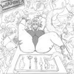 alien ambiguous_gender big_breasts breasts clothing dannyg female group humanoid knife laser_gun lying monochrome nipple_bulge not_furry on_back orc probe ranged_weapon sketch slightly_chubby smile tentacles thick_thighs tight_clothing weapon