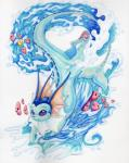 ambiguous_gender eeveelution fin foxiful frill group luvdisc neck_frill nintendo pokémon pokémon_(species) purple_eyes smile tail_fin traditional_media_(artwork) vaporeon video_games
