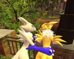 alternate_color ambiguous_gender anthro bandai canine couple date digimon duo female fox gmod hug mammal renamon walking   Rating: Questionable  Score: -1  User: Willy-fox  Date: September 23, 2011
