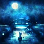 ambiguous_gender animal_humanoid bamboo blue_theme boat bridge cat_humanoid cool_colors feline firefly glowing grass holding humanoid mammal monochrome moon night outside paper river solo star sui_(petit_comet) tanabata water  Rating: Safe Score: 5 User: titanmelon Date: July 19, 2015