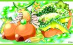 """<3 big_breasts blush breasts claws dragon female flora_fauna green_sky_fruit_melon_dragon huge_breasts lying naga on_front open_mouth pink_eyes plant puzzle_&_dragons solo video_games wings ymbk  Rating: Questionable Score: 8 User: chdgs Date: June 21, 2015"""""""