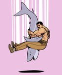 2006 amazing biceps big_muscles capcom clothed clothing dorsal_fin duo facial_hair feral fight fin final_fight fish human humor junkboy male mammal manly marine mike_haggar muscular muscular_male mustache oh_snap! open_mouth parody pink_background shadow shark simple_background sweat sweatdrop tears teeth texas_piledriver video_games what