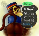 animal_crossing bitfly blush bottomless butt clothed clothing digital_media_(artwork) half-dressed hat male mammal monkey nintendo porter_(animal_crossing) presenting presenting_hindquarters primate raised_tail shirt solo text video_games  Rating: Questionable Score: 14 User: FiestaDeGuerra Date: November 24, 2015
