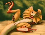 animal_genitalia black_claws claws cloaca female feral freckles frill frilled_lizard lizard looking_at_viewer membranous_ruff orange_eyes orange_scales outside plump_labia presenting pussy reptile scales scalie solo spread_legs spreading syrinoth warm_colors  Rating: Explicit Score: 52 User: chdgs Date: August 05, 2011