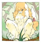 anthro blonde_hair blue_eyes blush bow canine cocker_spaniel crouching digital_media_(artwork) dog female fisheye_lens grass hair mammal nude peeing solo urine wkar  Rating: Explicit Score: 30 User: queue Date: August 29, 2011
